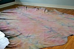 New Cowhide Rug Suede Leather Pink White Purple Yellow Blue Large Xl Tie Dyed