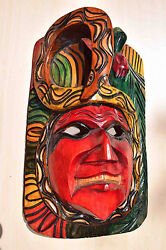 Hand Made Carved Wooden Mask From Guatemala - Gorgeous Details 7