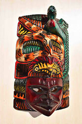 Hand Made Carved Wooden Mask From Guatemala - Gorgeous Details 3