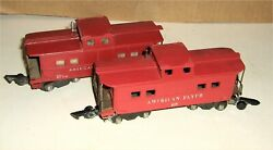 Lot 2 Vintage American Flyer 630 And 638 Caboose, A.c. Gilbert, Red, Lighted