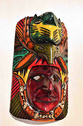 Hand Made Carved Wooden Mask From Guatemala - Gorgeous Details 6