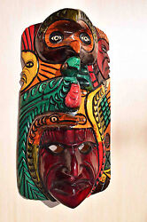 Hand Made Carved Wooden Mask From Guatemala - Gorgeous Details 2