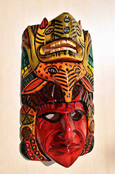 Hand Made Carved Wooden Mask From Guatemala - Gorgeous Details 9