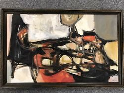 James Dew 1922-2012 Oil Painting Listed Mid Century Abstract Expressionist