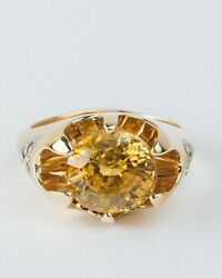 Beautiful Citrine And Genuine Diamond Solid 14k Yellow Gold Cocktail Ring
