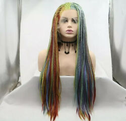 Hot Selling Rainbow Braided Style Lace Front Synthetic Black Women Party Wigs