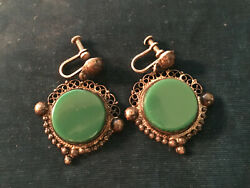 Victorian Antique Silver Earrings With Malachite--stamped 1.5