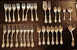 Reed And Barton Burgundy 925 Sterling Silver 29 Piece Flatware Set