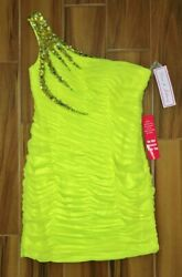 Dave And Johnny Ruched One Shoulder Beaded Prom Formal Mini Dress Nwt Jrs Sz 13 14