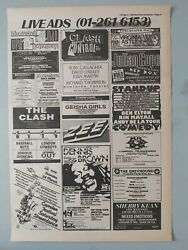THE CLASH OUT OF CONTROL LIVE 1984  MAGAZINE TRADE PRESS ADVERT SIZE 11