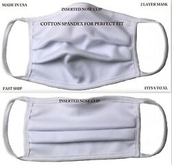 Free Fast Shipping White Face Mask, Reusable Washable Made In Usa, Adult Unisex