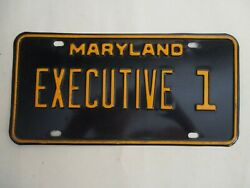 1967 Maryland Executive 1 License Plate Tag Governor