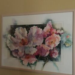 Elizabeth Taft Watercolor Floral With Paint Extended Over The Mats - Free Ship