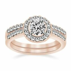 14k Rose Gold 1.20 Ct Round Diamond Halo Vintage Style Engagement And Band Ring
