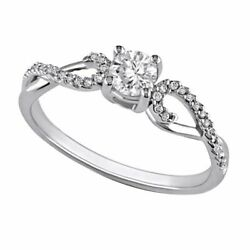 3/8 Ct Diamond Twine Engagement Ring In 10k White Gold