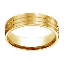 14k Yellow Gold 6mm Comfort Fit Satin Parallel Groove Carved Band Ring Sz 12