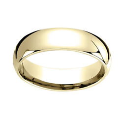 14k Yellow Gold 6mm Slightly Domed Super Light Comfort Fit Band Ring Sz 5