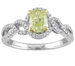 Canary Halo Engagement Ring 14k White Gold Over 925 Sterling Silver