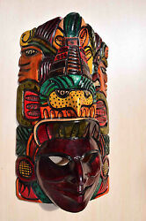 Hand Made Carved Wooden Mask From Guatemala - Gorgeous Details 8