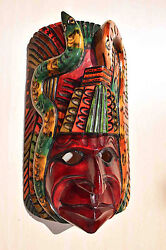 Hand Made Carved Wooden Mask From Guatemala - Gorgeous Details 1