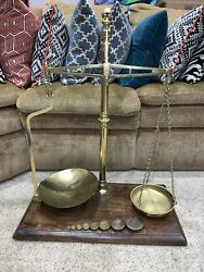 Rare Large Antique Wandt Avery Agate Brass Beam Balance Scale With Base Weights