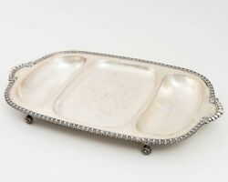 Antique Sheffield Silverplate Divided Footed Serving Tray Platter Handles 19.25
