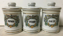 Lot Of 3 Small Antique Decorated Anchor Wings Porcelain Apothecary Medicine Jars