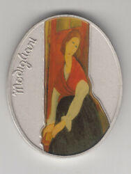 Women In Art By Modigliani Color Medal Oval 60x48mm 105g Pure Silver
