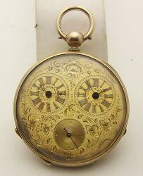 45mm Keywind Multi Dial Captains Pocket Watch 2 Time Zone Gold Plated Runs