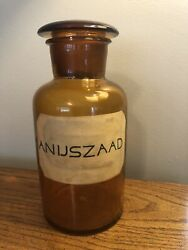 """Antique German Anijszaad Apothecary Amber Glass 9"""" Jar W/ Lid Paper Label Rare👀"""