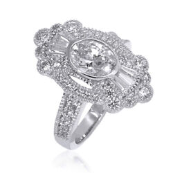 2.35 Ct Oval Simulated Milgrain Pave Shield Wedding Ring In 18k Solid White Gold