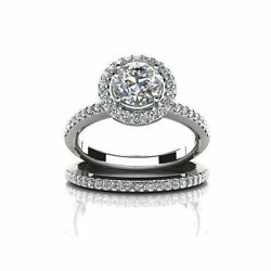 2.30 Ct Round Cut Simulated Diamond 14k White Gold Engagement And Wedding Rings