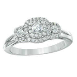1/2 Ct Natural Diamond Double Frame Three Stone Ring In 10k White Gold