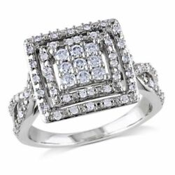 1/2 Ct Natural Diamond Square Double Frame Twist Engagement Ring 10k White Gold