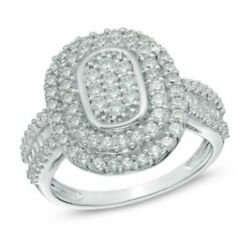 1 Ct Natural Diamond Double Oval Frame Ring In 10k White Gold