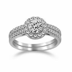 3/4ct Oval And Round Simulated Diamond 10k Solid White Gold Halo Bridal Rings Set