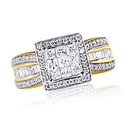 10k Solid Yellow Gold 1 Ct Natural Diamond Princess Style Engagement Ring New
