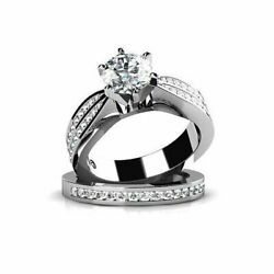 2.95 Ct Round Cut Simulated Diamond 14k White Gold Engagement And Wedding Rings