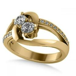 Simulated Split Shank Us Two Stone Ring 14k Solid Yellow Gold 0.68ct