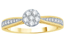 1/3 Ct Natural Diamond Cluster Vintage Style Engagement Ring 10k Yellow Gold