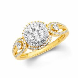 3/4 Ct Natural Diamond Natural Double Frame Engagement Ring In 10k Gold