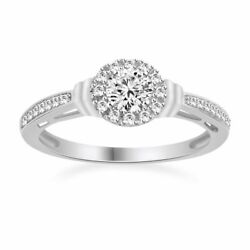 10k White Gold 0.55ct Round Cut Simulated Solitaire W/accents Engagement Ring