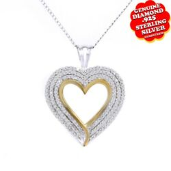 1.00 Ct White Natural Diamond 14k Two Tone Gold Over Heart Promise Pendant