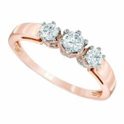 0.50 Ct Natural Diamond Three Stone Ring In Solid 10k Rose Gold For Womenand039s