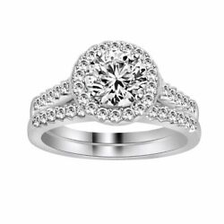1 Ct Round Cut Simulated Diamond Bridal Wedding Rings Set 10k Solid White Gold
