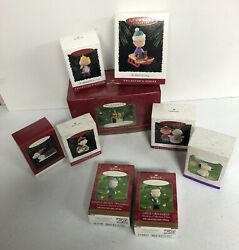 9 Hallmark 90's Peanuts Snoopy Charlie Brown And More Christmas Ornaments Boxed