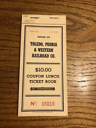 Vtg 1955 Toledo, Peoria, And Western Co. Railroad Ticket Book Coupon Lunch Unused