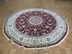9 X 9 Round Hand Knotted Red Fine Nain With Silk Oriental Rug G8704