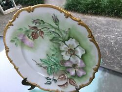 """Hutschenreuther Selb Bavaria Germany Floral Scroll Thick Gold Trim Plate 10 1/4"""""""