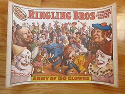 Original 1960 Ringling Bros And Barnum And Bailey Circus Army Of 50 Clowns Poster
